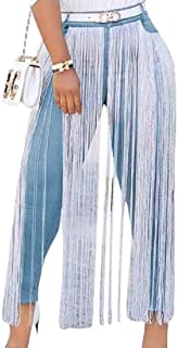 Womens Hight Waisted Tassel Jeans Fringed Stretch Skinny Denim Pants Trousers