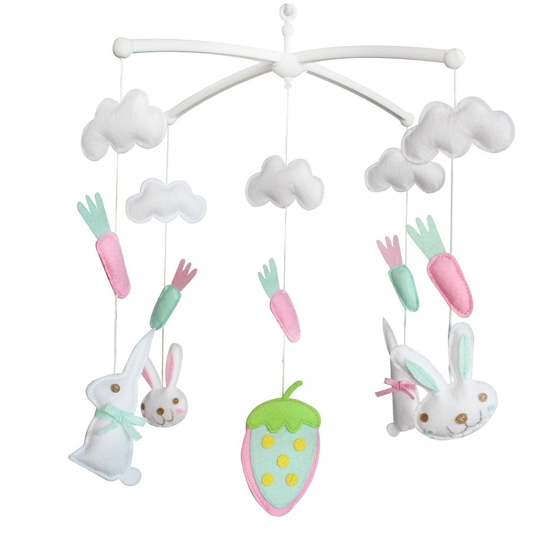 カラフルな吊り玩具、ベビーベッドのおもちゃ、[かわいいうさぎ]ミュージカルモバイル、ギフト