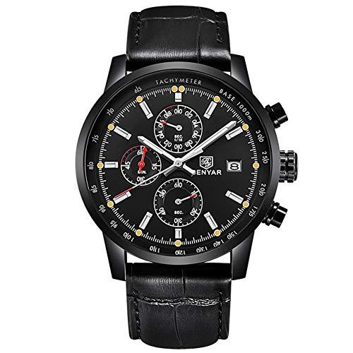 Gskj Heren horloge Quartz horloge mode waterdicht Outdoor sport Chronograaf Lederen band Multifunctionele Klok Casual mannen horloge