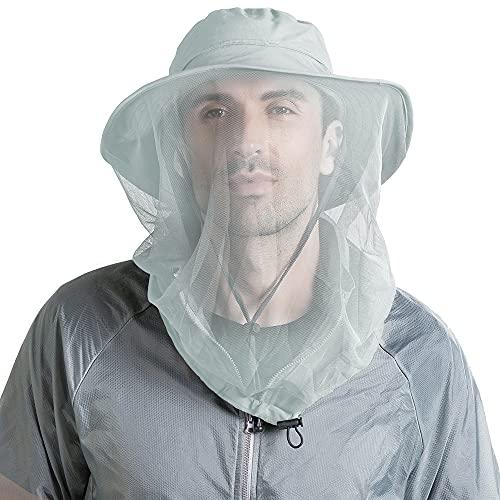 Peicees Head Net Hat for Men Women Adventure Fishing Hat Safari Hat for Hunting Camping Hiking (Light Gray)