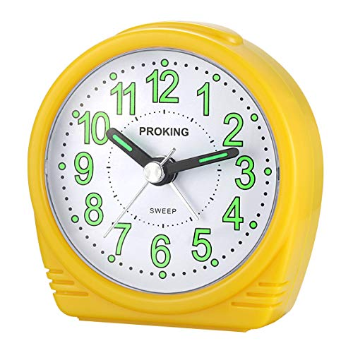 Alarm Clock,Silent No-Ticking Bedside Analog Alarm Clock,Small Lightweight Travel Quartz Alarm Clock,With Snooze And Light,Large Digital Dial Easy To Set,Battery Operated,Best For Elder/Kids (yellow)