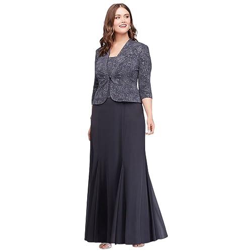 40a9de42a6d Plus Size 3 4 Sleeve Long Jacquard Jacket Mother Bride Groom Dress Style.