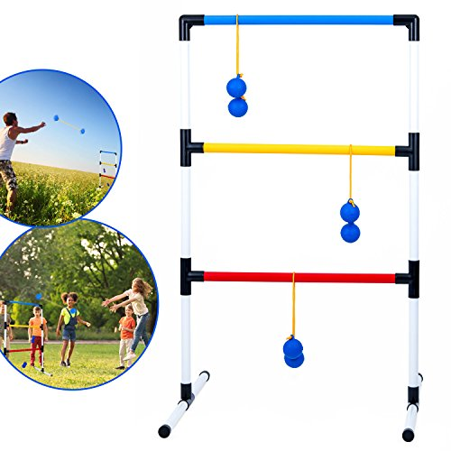 Ideas In Life One Piece Ladder Ball Game Set - Indoor and Outdoor Games for Adults and Kids – Hillbilly Golf Backyard Toys Ladder Golf Toss Game and 6 Bolas