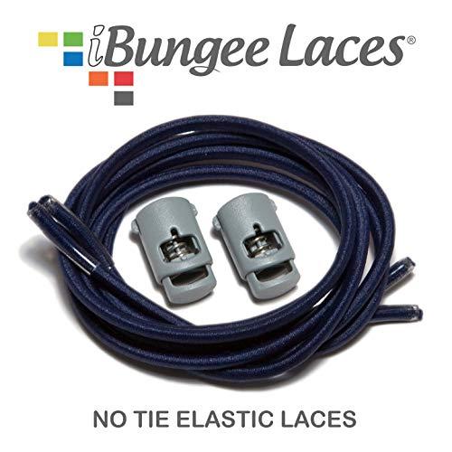 iBungee Laces (Elastic No Tie Shoelaces) (Navy, 34-Inch)