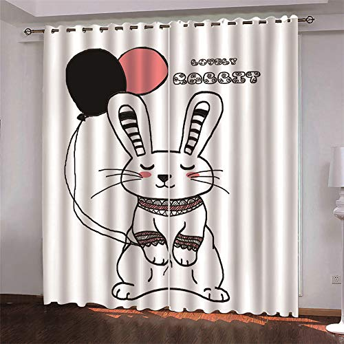 MMHJS Hotel Sanitary Partition Curtains European-Style Simple 3D Animal Print Curtains Children'S Bedroom, Living Room Full Blackout Curtains (2 Pieces)