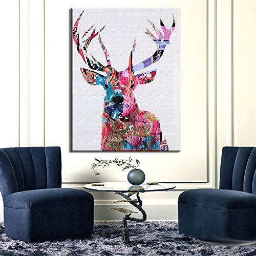 tzxdbh Posters en Print Muur Canvas Schilderen Wanddecoratie Kleurrijke Abstract Sika Herten Foto's voor Woonkamer Muur Frameless-in Schilderen & Kalligrafie 20x25cm No Frame