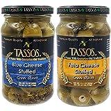 Tassos Green Olives Stuffed Blue Cheese, Feta Cheese, Greek Olive Variety Pack, 12 Oz (2-Pack Variety, Total of 24.1 Oz)