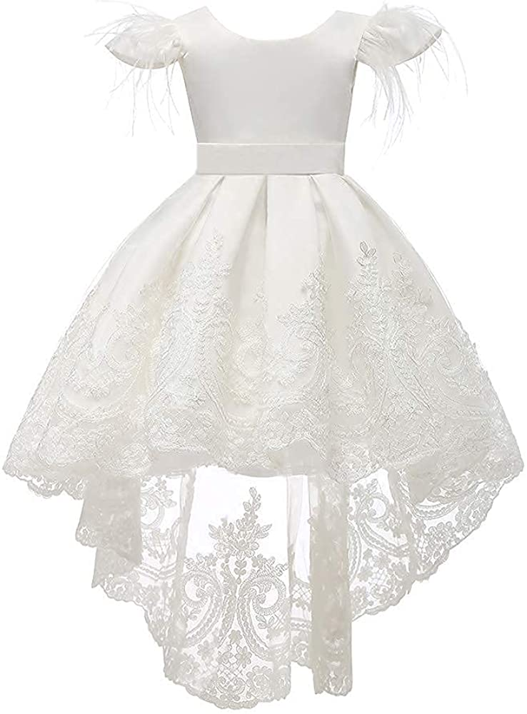 Flower Girl Dresses Bowknot White Lace Embroider Pageant Party Wedding Gown 1-10 Years
