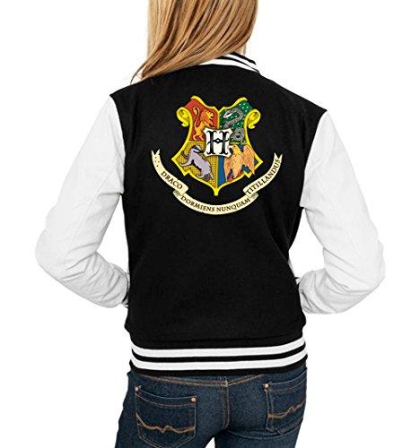 Certified Freak Hogwarts Shield College Vest Girls Black M