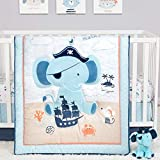 Ahoy Archie Elephant Nautical Pirate Theme Neutral 4 Piece Baby Crib Bedding Set