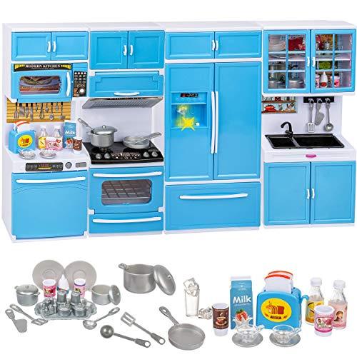 alles-meine.de GmbH Puppenhaus Möbel - Sound & Licht - Modellwahl - 31 cm groß - Geschirrspüler + Mikrowelle + großer Kühlschrank + Backofen + Herd / Küchenschrank - mit Zubehör ..