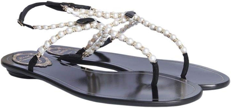 Rene Caovilla Women's C09966010C001V001 Black Leather Sandals