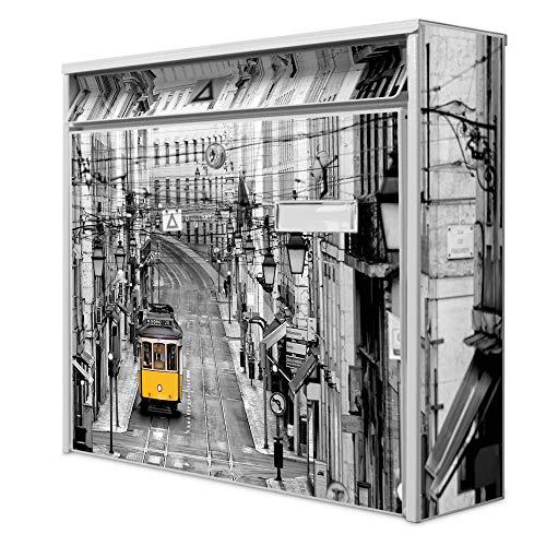 Burg Wächter Design Briefkasten | Postkasten 36cm x 32cm x 11cm groß | Stahl weiß verzinkt mit Namensschild | großer A4 Einwurf, 2 Schlüssel | Lissabon