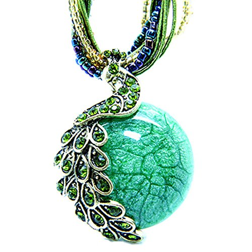 Zonman Pretty Jewelry Retro Bohemia Style Pendant Opal Phoenix Peacock Necklace Valentine's Day Gifts for Women(P3)