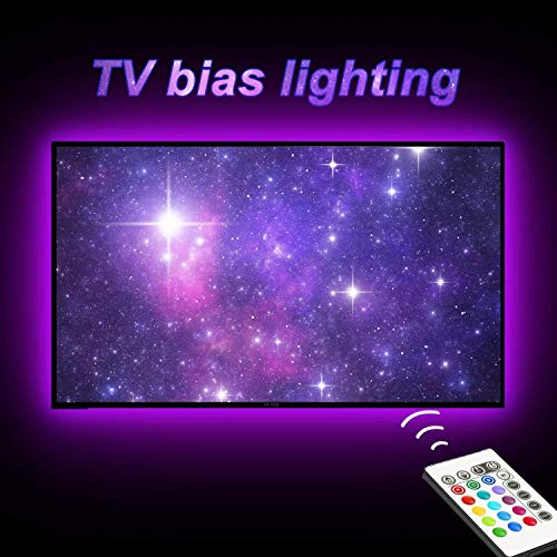 TV Bias Lighting,LED Strip Light USB Powered for 65 to 75 Inches HDTV, TV Backlight Kit with 24keys Remote 20 Color Options and Dimmable LED Lights