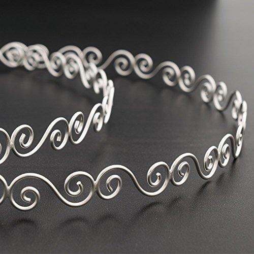 Spiral stefana, ασημένια στέφανα γάμου, 925 solid sterling silver pair of greek wedding crowns, grecian orthodox wedding handmade spiral headbands handmade by Emmanuela