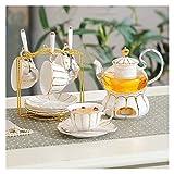 FHISD Set da tè Regalo Set da tè pomeridiano comprensivo di Tazze da tè e piattino Porta Tazza in Metallo e bollitore per tè con Base in Ceramica scaldavivande Adatto per caffè, Fiori e Frutta, pi