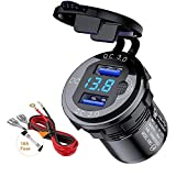 Quick Charge 3.0 Dual USB Car Charger Socket 12V/24V 36W QC3.0 Dual USB Aluminum Socket Power Outlet with LED Voltmeter and ON/Off Switch for Marine, Boat, Motorcycle, Truck, Golf Cart