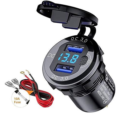 QC 3.0 USB Caricabatteria da Auto Presa 12V / 24V 36W Alluminio con Interruttore e Display LED Voltaggio Ricarica Rapida 3.0 Porte USB Presa di Alimentazione (Blue)