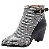 Stivali Donna Nuovi Tacchi a Spillo Color Autunno e Inverno con Tacco Grosso Stivali da Donna con Tacco Alto (39 EU,Nero)