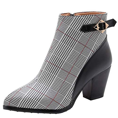 Yowablo Stiefel Damen Schwarz Boots Damen Leder Overknee Stiefel Rot Stiefeletten Damen Braun Overknee Stiefel Weiter Schaft Overknee Stiefel Flach Stiefel Damen Braun (35 EU,Schwarz)