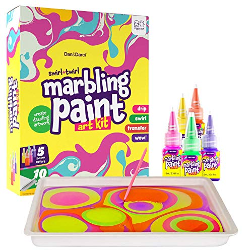 DanampDarci Marbling Paint Art Kit for Kids  Arts and Crafts for Girls amp Boys Ages 612  Craft Kits Art Set  Best Tween Paint Gift Ideas for Kids Activities Age 4 5 6 7 8 9 10 Marble Painting