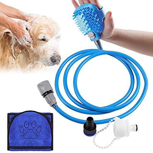 Czemo Cabezal de Ducha & Toallas para Mascotas, Herramienta de baño y Accesorios para Mascotas, Rociador de Ducha como Regalos para Gatos/Perros