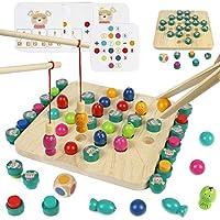 Akokie Montessori Spielzeug Holz Angelspiel Holzspielzeug Magnetplatine Spiel 3 IN 1 Interaktiv Mathe Zählen Lehrreich Geschenke für Kinder Jungen Mädchen 3 4 5 Jahre