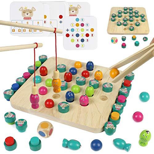 Montessori Spielzeug Holz Angelspiel 4 In 1 Holzspielzeug Kartenspiel Magnetspielzeug Memory-Spiel Geschenke für Kinder Jungen Mädchen 3 4 5 6 Jahre Alt