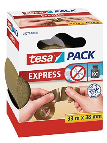 tesa Packband von Hand einreißbar, braun, 33m x 38mm