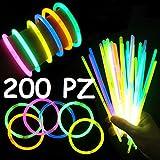 Applife Braccialetti Luminosi Starlight Fluorescenti BRACCIALI Disco Fluo DJ (200 Pezzi)...