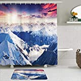 ZELXXXDA Juegos de Cortinas de Ducha con alfombras Antideslizantes,Pico de montaña Nevado Invierno Colorido Ciel, Alfombra de baño + Cortina de Ducha con 12 Ganchos