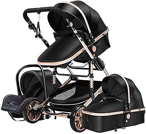 Sistema de viaje de cochecito de bebé Trolley Asiento 3 en 1 Carrito de bebé plegable Cochecito a prueba de golpes con mango ligero Cesta para dormir para recién nacido Cochecito de reclinación conver