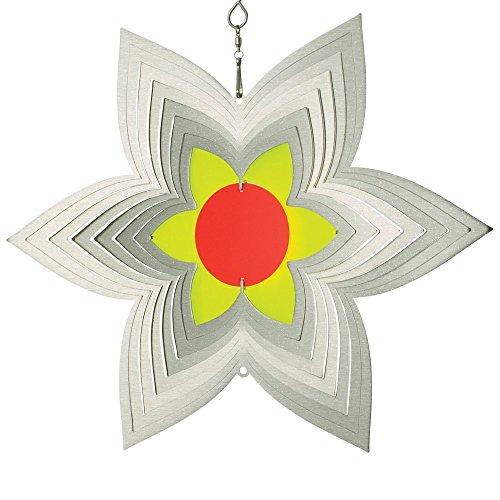 Acier inoxydable Vent Jeu – Sun Dancer Mix étoile Fleur – Mélange unique, lichtreflektierend – Dimensions : 29 x 25 cm – avec crochet avec roulement à billes vertébrale