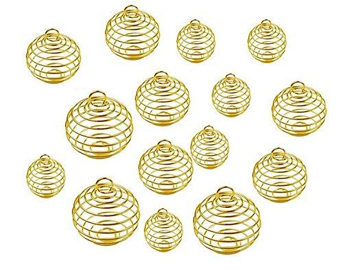 Fodattm 30pcs 3Taille spirale cages à perle Pendentifs Apprêt creux Lanterne Boule Charms Pendentifs Pierre de lave Perles cages Pendentifs Collier Bijoux Accessoires doré