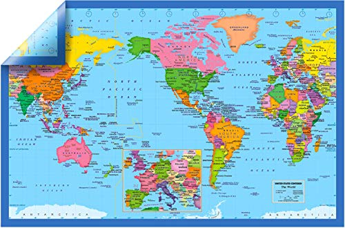 NewSpaceView 2-Sided Wall Map Posters 27 x 18 inches, 2-Side Laminated (One 2-Sided Wall Map: USA Centered World Map/Europe Centered World Map)
