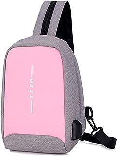 DIEBELLAU New Chest Bag Fashion Wild Retro Canvas Backpack Solid Color Handbag (Color : Pink)
