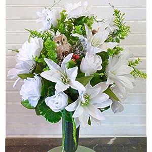 Winter Cemetery Vase, Cemetery Flowers Winter, White Cemetery Flowers with Dahlias