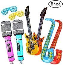 Yojoloin Súper Gigante 8 UNIDS Jumbo Inflables Guitarra Saxofón Micrófono Gafas Globos Instrumentos Musicales Accesorios para Artículos de Fiesta Favores de Fiesta Globos Color Al Azar (8 PCS)