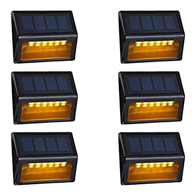 Solar Step Lights Outdoor - Amei 6 LED Solar Deck Lights, Solar Garden Lights, Solar Outdoor Lights Wall Mount, Waterproof Security Lamps for Decks Stairs Patio Pathway Fence (Warm White)