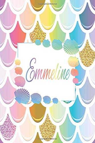 Emmeline: Personalized Name Floral Blank Lined Journal For Mermaid Lover Girls And Women