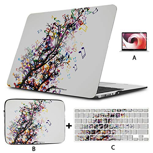 A1466 MacBook Air Case Abstract Branch with Colorful Music Notes Laptop MacBook Pro Hard Shell Mac Air 11'/13' Pro 13'/15'/16' with Notebook Sleeve Bag for MacBook 2008-2020 Version