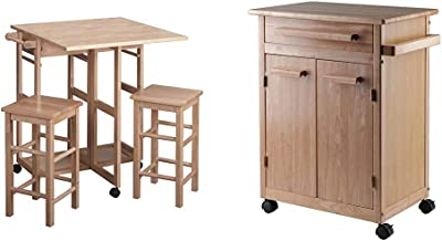 Winsome Wood Suzanne Kitchen, Square, Natural & Wood Single Drawer Kitchen Cabinet Storage Cart, Natural
