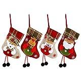 Komake - Juego de 4 calcetines de Navidad colgantes para decoración de Navidad, para niños, como regalo para chimenea, mesita de noche, puerta