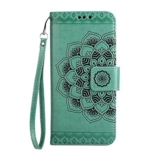 ISAKEN Compatibile con Samsung Galaxy A5 2017 Custodia Cover, Libro PU Pelle Wallet Cover Flip Portafoglio Protezione Custodia con Supporto di Stand/Carte Slot/Strap[Shock-Absorption], Fiori: Verde