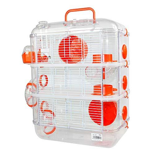Jaulas para Hamster de plástico Duro, Jaula de Hamster XL 3 Pisos Hamster caseta Bebedero comedero Rueda Todo Incluido 40 * 26 * 53cm(3 Piso, Naranja)