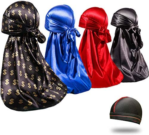 4PCS Silky Durags for Men 360 Waves, Designer Do Rag, Award 1 Wave Cap