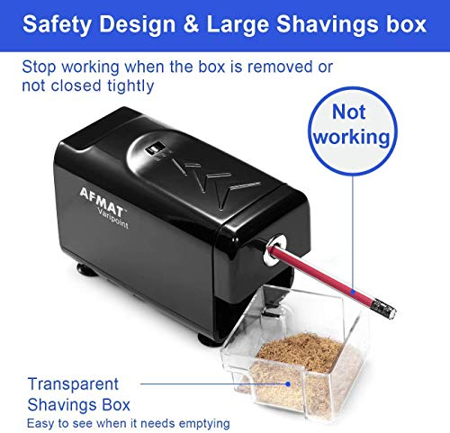 Electric Pencil Sharpener Heavy Duty, AFMAT Pencil Sharpener for Classroom, Auto Stop, Super Sharp & Fast, Commercial Pencil Sharpener for 6-8mm No.2/Colored Pencils/Office/Home, Upgraded Packaging Photo #8