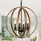 LOG BARN 20'' Farmhouse Chandelier, Faux-Wood Hanging 4-Light Fixture for Dining & Living Room, Bedroom, Foyer and Entryway