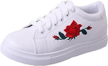 riou Zapatillas Deportivas de Mujer Zapatos Bordados Flor Blanca de Encaje Zapatillas Respirable Mocasines Deportes Casual Sandalias Antideslizantes Correr Calzado Deportivo Zapatilla